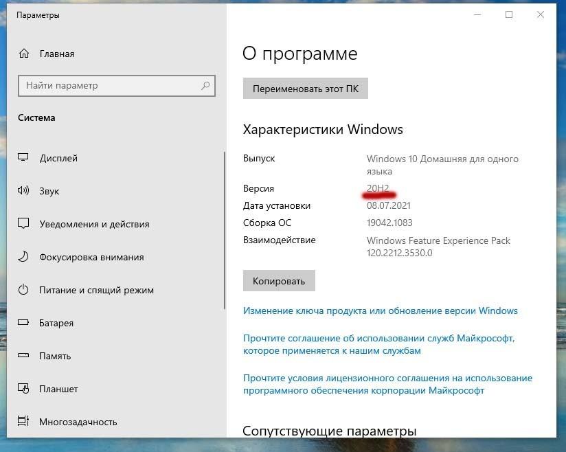 Версия windows 10 20H2