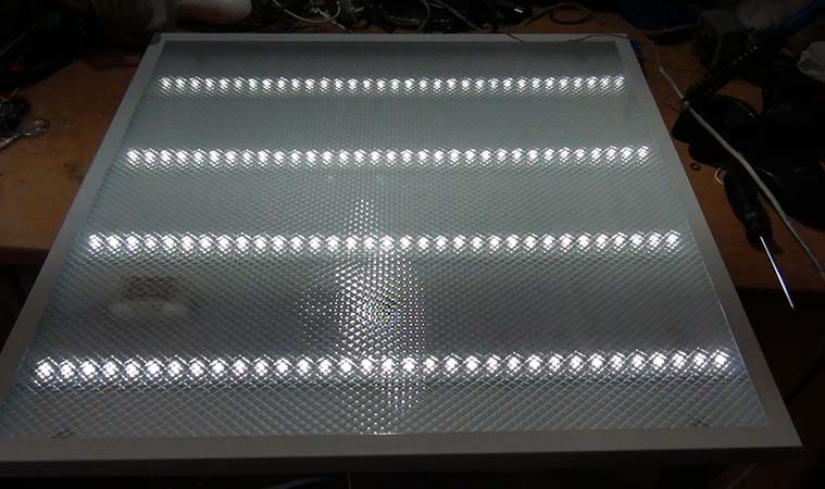 Восстановленный светильник включен