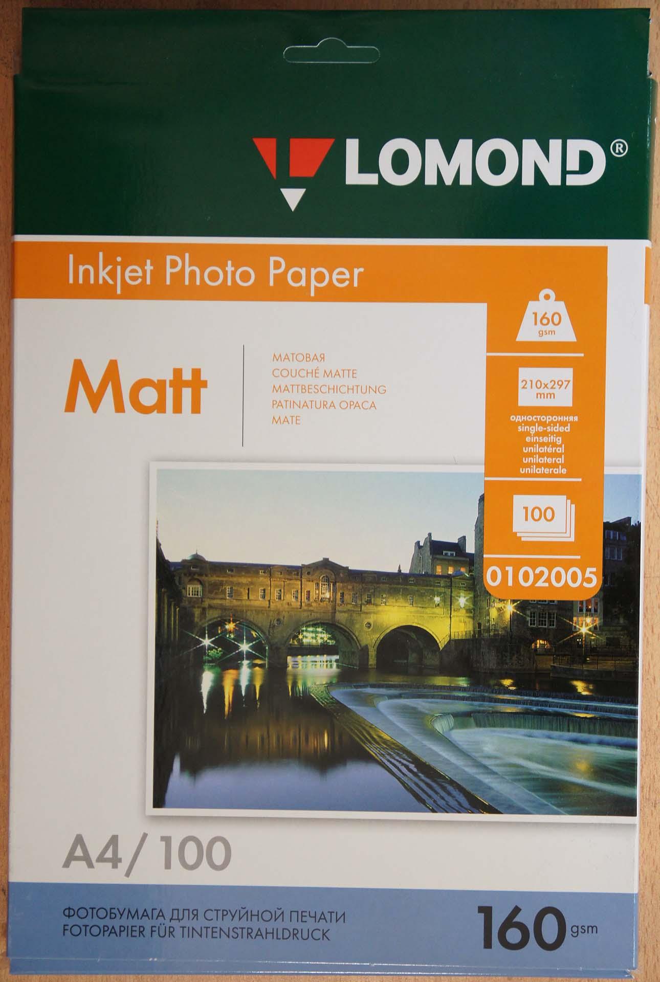 Упаковка. Матовая бумага Lomond