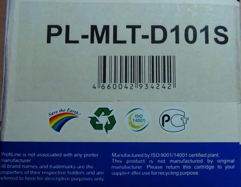 Торцевая сторона картриджа картриджа MLT-D101S