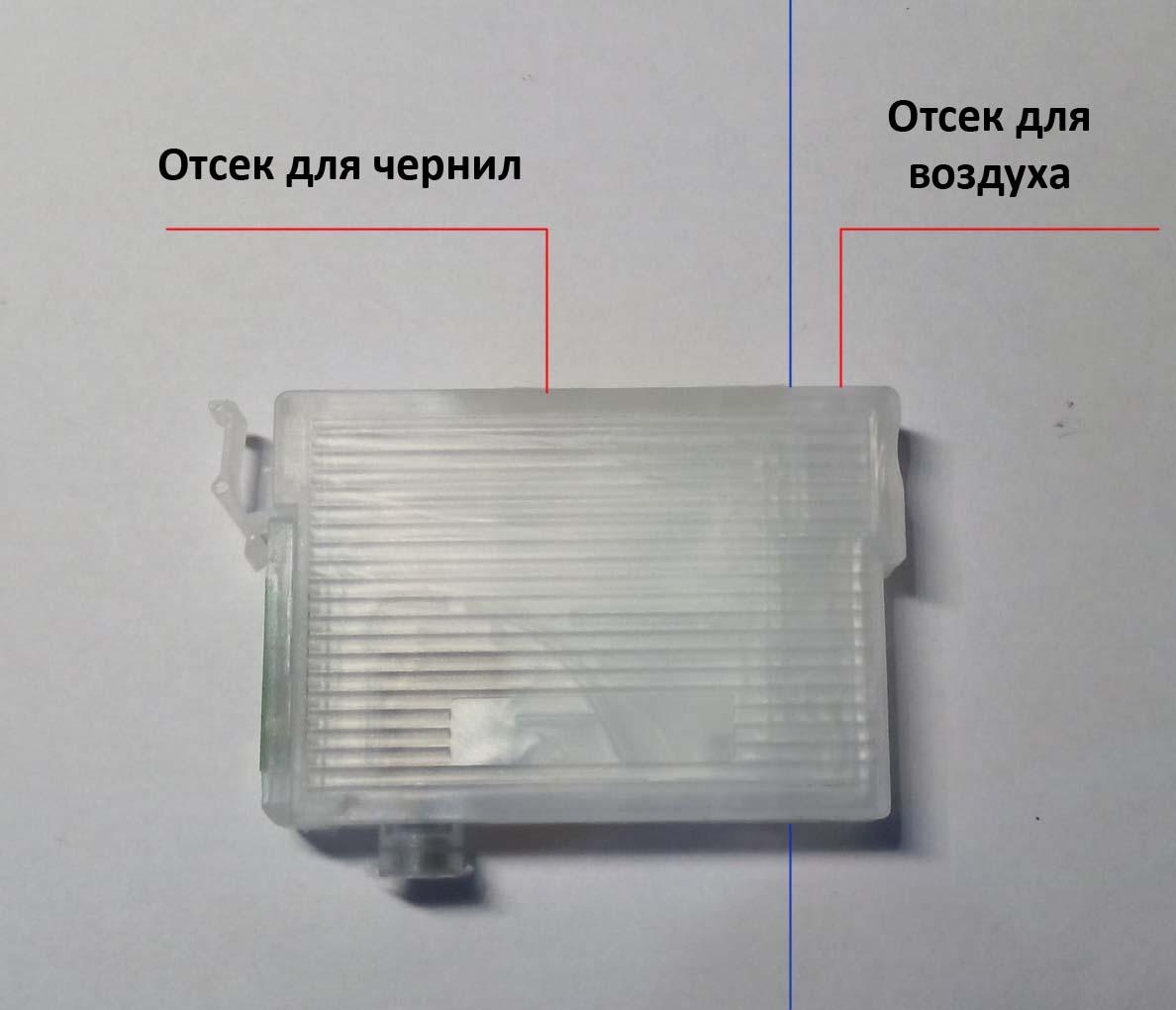 ПЗК, перезаправляемый картридж, отсек для воздуха и отсек для чернил