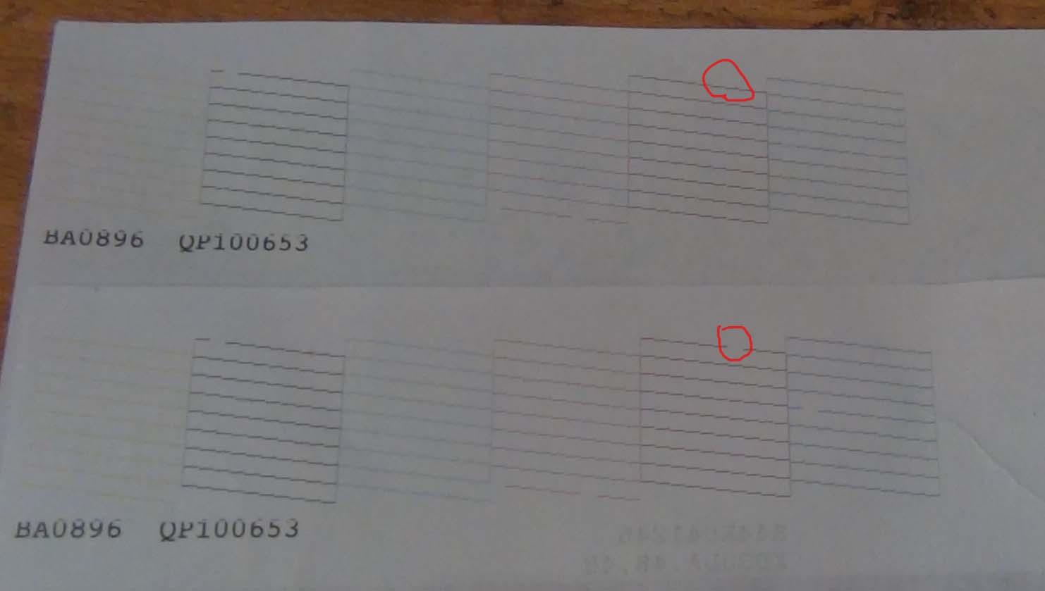 Тест дюз, пропуска не стало после печати листа и прочистки